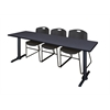 "Cain 84"" x 24"" Training Table- Grey & 3 Zeng Stack Chairs- Black"