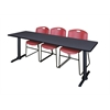 "Cain 84"" x 24"" Training Table- Grey & 3 Zeng Stack Chairs- Burgundy"
