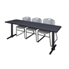 "Cain 84"" x 24"" Training Table- Grey & 3 Zeng Stack Chairs- Grey"