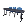 """Cain 84"""" x 24"""" Training Table- Grey & 3 'M' Stack Chairs- Blue"""