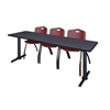 "Cain 84"" x 24"" Training Table- Grey & 3 'M' Stack Chairs- Burgundy"