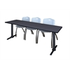 "Cain 84"" x 24"" Training Table- Grey & 3 'M' Stack Chairs- Grey"