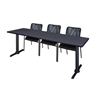 """Cain 84"""" x 24"""" Training Table- Grey & 3 Mario Stack Chairs- Black"""