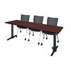 """Cain 84"""" x 24"""" Training Table- Mahogany & 3 Apprentice Chairs- Black"""