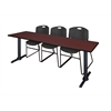 "Cain 84"" x 24"" Training Table- Mahogany & 3 Zeng Stack Chairs- Black"