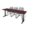 "Cain 84"" x 24"" Training Table- Mahogany & 3 Zeng Stack Chairs- Grey"