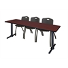 "Cain 84"" x 24"" Training Table- Mahogany & 3 'M' Stack Chairs- Black"