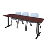 "Cain 84"" x 24"" Training Table- Mahogany & 3 'M' Stack Chairs- Grey"