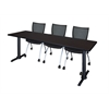 "Cain 84"" x 24"" Training Table- Mocha Walnut & 3 Apprentice Chairs- Black"