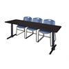 "Cain 84"" x 24"" Training Table- Mocha Walnut & 3 Zeng Stack Chairs- Blue"