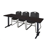 "Cain 84"" x 24"" Training Table- Mocha Walnut & 3 Zeng Stack Chairs- Black"