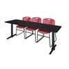 "Cain 84"" x 24"" Training Table- Mocha Walnut & 3 Zeng Stack Chairs- Burgundy"