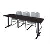 "Cain 84"" x 24"" Training Table- Mocha Walnut & 3 Zeng Stack Chairs- Grey"