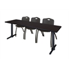 "Cain 84"" x 24"" Training Table- Mocha Walnut & 3 'M' Stack Chairs- Black"