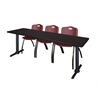 "Cain 84"" x 24"" Training Table- Mocha Walnut & 3 'M' Stack Chairs- Burgundy"