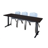 "Cain 84"" x 24"" Training Table- Mocha Walnut & 3 'M' Stack Chairs- Grey"