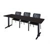 """Cain 84"""" x 24"""" Training Table- Mocha Walnut & 3 Mario Stack Chairs- Black"""