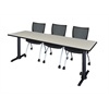 """Cain 84"""" x 24"""" Training Table- Maple & 3 Apprentice Chairs- Black"""