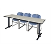 """Cain 84"""" x 24"""" Training Table- Maple & 3 Zeng Stack Chairs- Blue"""