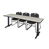 "Cain 84"" x 24"" Training Table- Maple & 3 Zeng Stack Chairs- Black"
