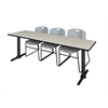 "Cain 84"" x 24"" Training Table- Maple & 3 Zeng Stack Chairs- Grey"
