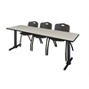 "Cain 84"" x 24"" Training Table- Maple & 3 'M' Stack Chairs- Black"