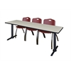 """Cain 84"""" x 24"""" Training Table- Maple & 3 'M' Stack Chairs- Burgundy"""
