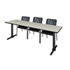 "Cain 84"" x 24"" Training Table- Maple & 3 Mario Stack Chairs- Black"
