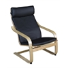 Mia Bentwood Reclining Chair- Natural/ Black Leather