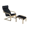 Mia Bentwood Reclining Chair and Ottoman- Natural/ Black Leather