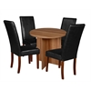 "Mod 30"" Round Table- Warm Cherry & 4 Tyler Dining Chairs- Black/Cherry"