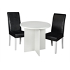 "Mod 30"" Round Table- White Wood Grain & 2 Tyler Dining Chairs- Black/White"