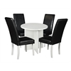"Mod 30"" Round Table- White Wood Grain & 4 Tyler Dining Chairs- Black/White"