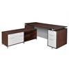 "OneDesk 71"" L-Desk with 60"" Lateral File/ Open Storage Cabinet Low Credenza- Java"