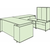 """OneDesk 71"""" U-Desk with 60"""" Lateral File/ Open Storage Cabinet Low Credenza and Tower- Java"""