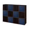 Cubo Storage Set - 12 Cubes and 6 Canvas Bins- Truffle/Blue