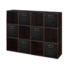 Cubo Storage Set - 12 Cubes and 6 Canvas Bins- Truffle/Black