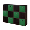 Cubo Storage Set - 12 Cubes and 6 Canvas Bins- Truffle/Green