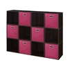 Cubo Storage Set - 12 Cubes and 6 Canvas Bins- Truffle/Pink