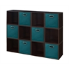 Cubo Storage Set - 12 Cubes and 6 Canvas Bins- Truffle/Teal