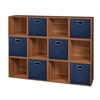 Cubo Storage Set - 12 Cubes and 6 Canvas Bins- Warm Cherry/Blue