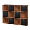 Cubo Storage Set - 12 Cubes and 6 Canvas Bins- Warm Cherry/Black