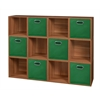 Cubo Storage Set - 12 Cubes and 6 Canvas Bins- Warm Cherry/Green