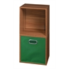 Cubo Storage Set - 2 Cubes and 1 Canvas Bin- Warm Cherry/Green