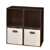 Cubo Storage Set - 4 Cubes and 2 Canvas Bins- Truffle/Natural