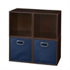 Cubo Storage Set - 4 Cubes and 2 Canvas Bins- Truffle/Blue