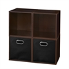Cubo Storage Set - 4 Cubes and 2 Canvas Bins- Truffle/Black