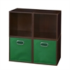 Cubo Storage Set - 4 Cubes and 2 Canvas Bins- Truffle/Green