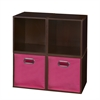 Cubo Storage Set - 4 Cubes and 2 Canvas Bins- Truffle/Pink