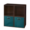 Cubo Storage Set - 4 Cubes and 2 Canvas Bins- Truffle/Teal